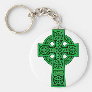 Green Celtic Cross Keychain
