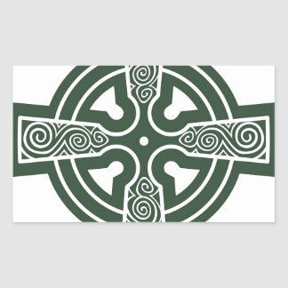 Green Celtic Cross with Triskele Engraving Sticker
