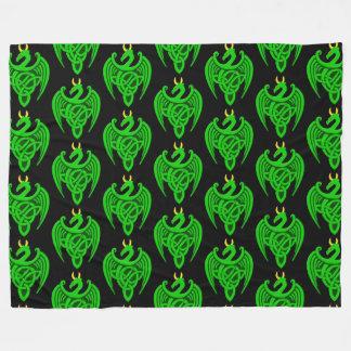 Green Celtic Dragon Fleece Blanket