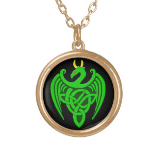 Green Celtic Dragon Necklace