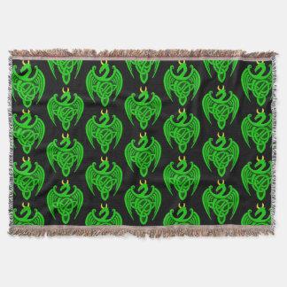 Green Celtic Dragon Throw Blanket