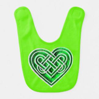 Green Celtic Heart Baby Bib