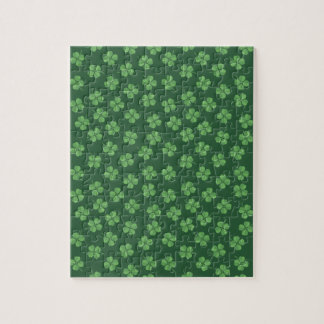 Green Celtic Irish Four Leafed Clovers St. Patrick Jigsaw Puzzle