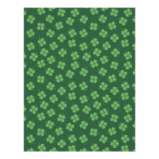 Green Celtic Irish Four Leafed Clovers St. Patrick Letterhead