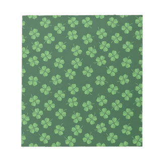 Green Celtic Irish Four Leafed Clovers St. Patrick Notepad