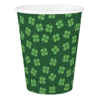 Green Celtic Irish Four Leafed Clovers St. Patrick Paper Cup