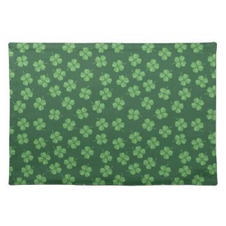 Green Celtic Irish Four Leafed Clovers St. Patrick Placemat