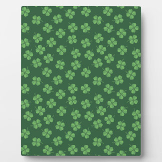 Green Celtic Irish Four Leafed Clovers St. Patrick Plaque