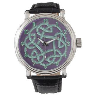 Green Celtic Knot On Purple Classic Watch