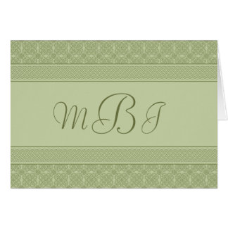 Green Celtic Knot Personalized Card with Monogram