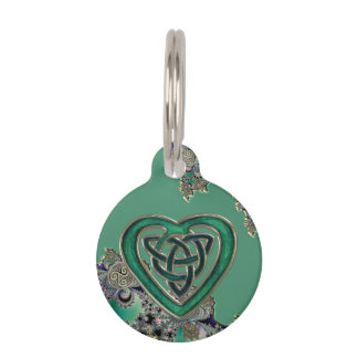 Green Celtic Mystical Fractal Pet Tags