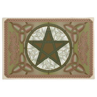Green Celtic Pentagram, Tri-Quatras & Birds #1 Doormat