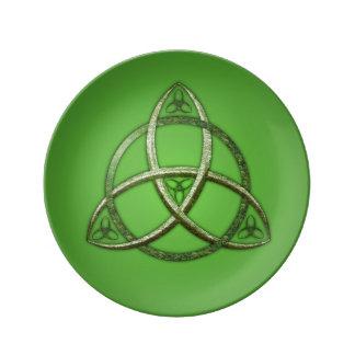 Green Celtic Trinity Knot Porcelain Plates