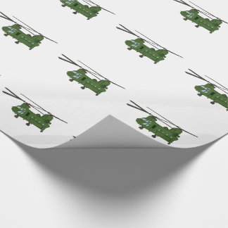 Green CH-47 Chinook Military Helicopter Wrapping Paper