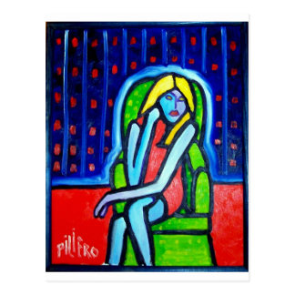Green Chair Woman by Piliero Postcard