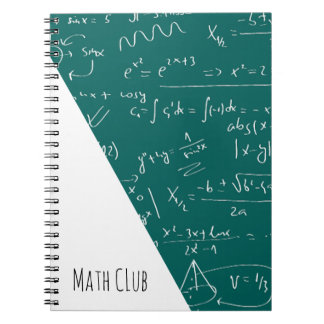 Green Chalkboard Filled With Math Symbols Spiral Notebook