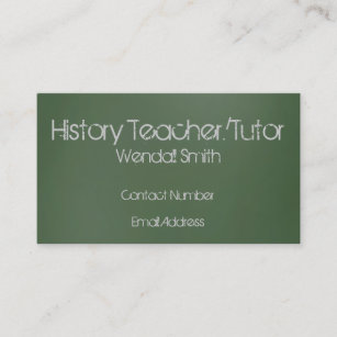 History teacher business cards profile cards zazzle ca green chalkboard teacher business card reheart Image collections
