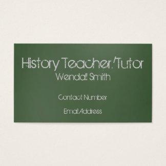 Green Chalkboard Teacher Business Card