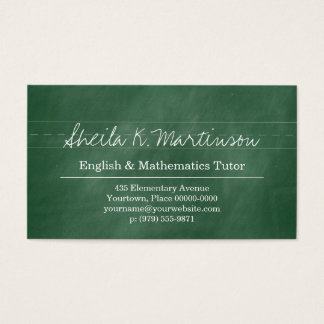 Green Chalkboard Teacher Tutor Business Card