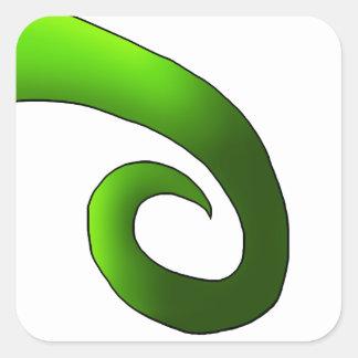 Green Chameleon Tail Square Sticker