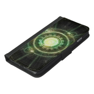 Green Chaos Clock, Steampunk Alchemy Fractal Manda iPhone 6/6s Plus Wallet Case