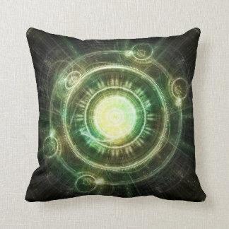 Green Chaos Clock Steampunk Fractal Alchemy Circle Throw Pillow