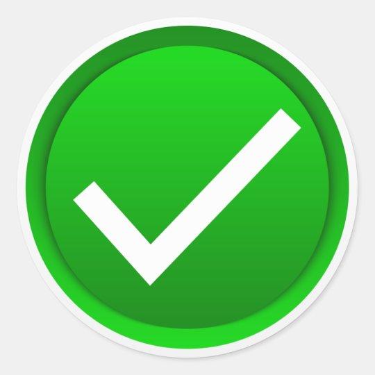 Green Check Mark Symbol Classic Round Sticker | Zazzle.ca on ✔  id=30770