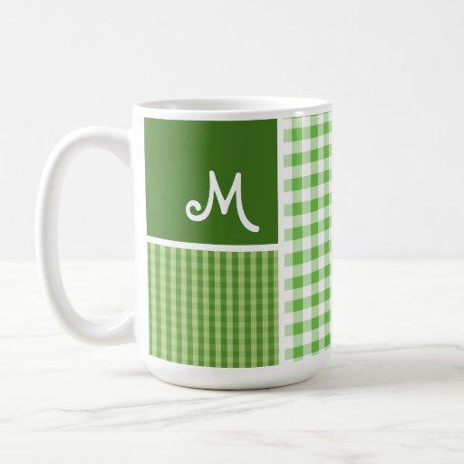 Green Checkered; Gingham Coffee Mugs