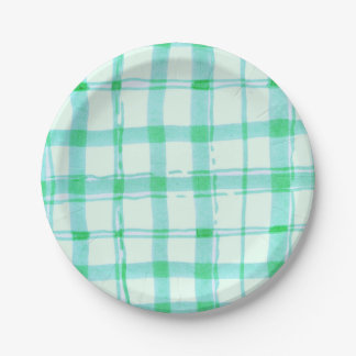 Green checkered Paper Plates 7x7 Inch 7 Inch Paper Plate