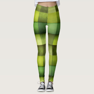 Green Checkered Pattern Leggings