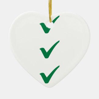 Green checks marks ceramic heart ornament