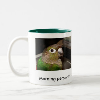 Green Cheek Conure Morning Person Two-Tone Coffee Mug