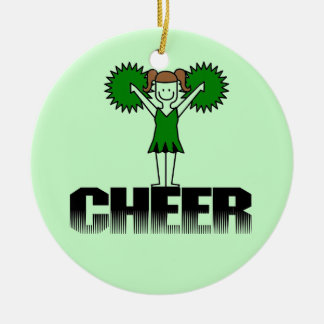 Green Cheerleading T-shirts and Gifts Ceramic Ornament