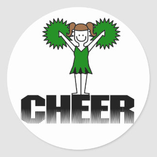 Green Cheerleading T-shirts and Gifts Classic Round Sticker