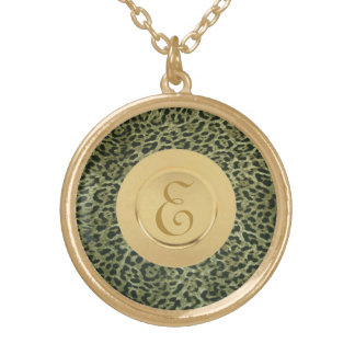 Green Cheetah Monogram Gold Plated Necklace