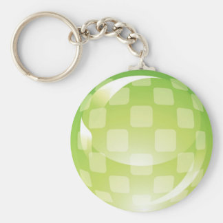 Green Chequered Sphere Keychain