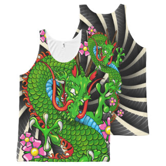 Green Cherry Blosso Dragon with Wind Bars Tank Top