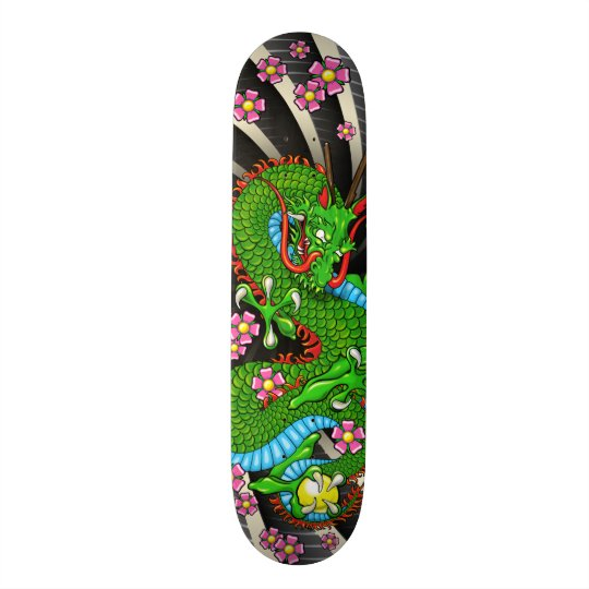Green Cherry Blossom Dragon Tattoo Skateboard