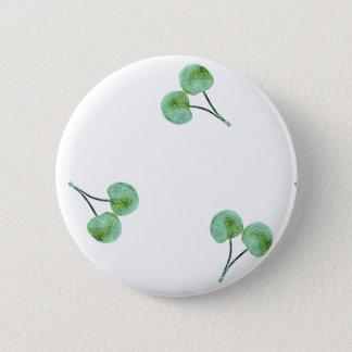 Green Cherry Pattern 2 Inch Round Button