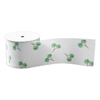 Green Cherry Pattern Grosgrain Ribbon