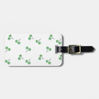 Green Cherry Pattern Luggage Tag