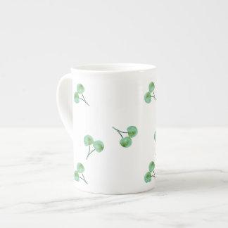 Green Cherry Pattern Tea Cup