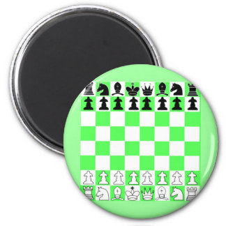 Green Chess Board Game 2 Inch Round Magnet