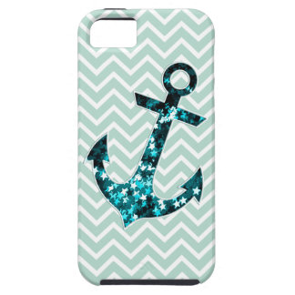 Green Chevron and Sparkly Stars Anchor iPhone 5 Cases