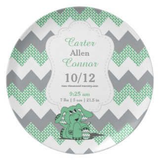 Green Chevron Elephant - Birth Information Plate