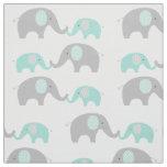 Green Chevron Elephant Nursery Fabric