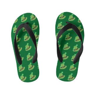 Green chevron leprechaun's hat kids flip flops