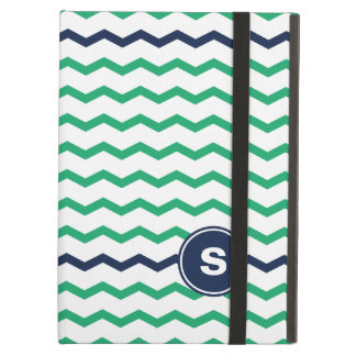 Green Chevron Monogram iPad Air Cover