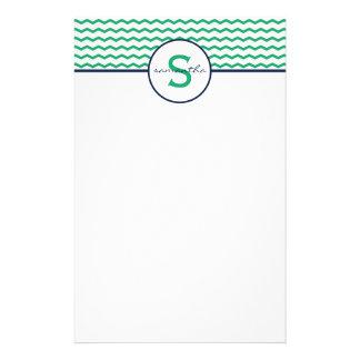 Green Chevron Monogram Custom Stationery