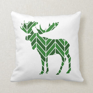 Green Chevron Moose Throw Pillow